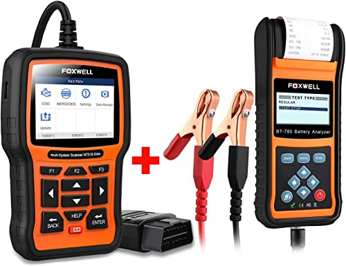 popular FOXWELL Car Battery Load Tester lowest for 12V 24V Auto Batteries Analyzer with Built-in Thermal Printer with Foxwell NT510 for Benz outlet sale Car Scanner outlet sale