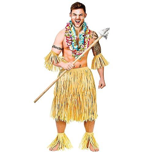 5825fb22 Hawaiian Party Guy/Zulu Warrior 5 Piece Raffia Set - Adult Costume