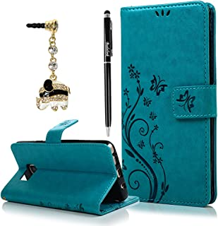 Note 5 Case, Samsung Galaxy Note 5 Case - Badalink Fashion Wallet Purse PU Leather Embossed Flowers Butterfly [Card Holders] Flip Cover with Hand Strap & 3D Cute Elephant Dust Plug & Stylus Pen - Blue