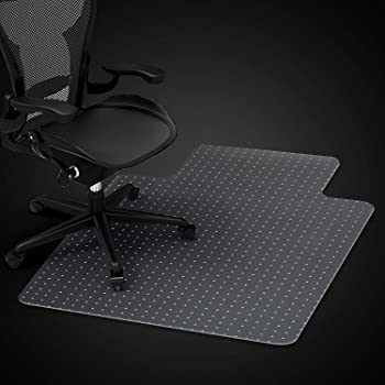Azadx Home Office Chair Mat for Low, Standard and Medium Pile Carpeted Floors, Transparent Carpet Protector (36 x 48'' Lipped)