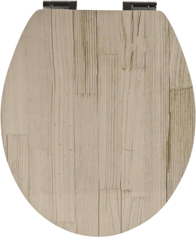 WC-Sitz Dekor Holz-Optik Beige-Grau mit Soft-Schließ-Komfort B07FS8W27Q