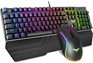 Havit Mechanical Keyboard and Mouse Combo RGB Gaming 104 Keys Blue Switches Wired USB Keyboards with Detachable Wrist Res...