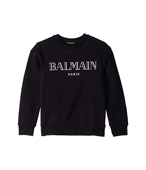 Balmain Kids Crew Neck French Terry Sweatshirt w/ Metallic Logo (Big Kids)