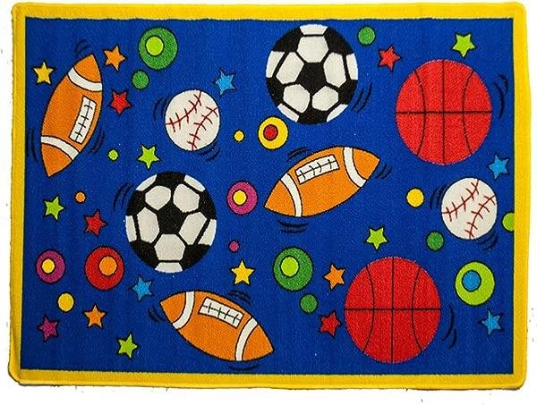 Mybecca Fun Kids Rug Sports Design 2 For Nursery Playroom Approx 5ft X 7ft