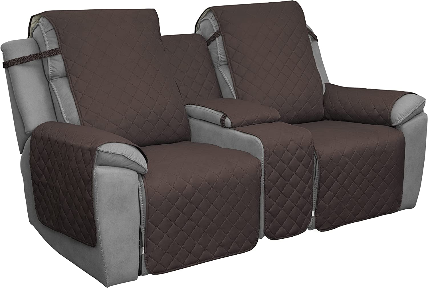 Easy-Going Loveseat Recliner Cover with Console, Reversible Couch Cover for Living Room, Split Sofa Cover for Each Seat with Elastic Straps for Kids, Dogs, Pets(2 Seater, Chocolate/Beige)