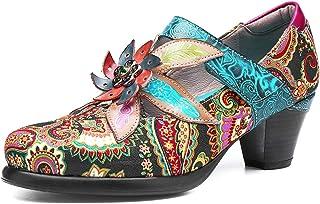 Camfosy Escarpins Cuir Femmes, Chaussures de Ville en Cuir Mocassins à Talons Hauts Confortables Mary Janes Bride Cheville...