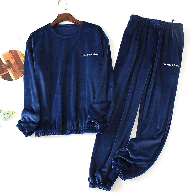 Men's Fleece Lined Warm Long Sleeve Pajama Set Big and Tall Drawstring Sleepwear Shirt and Pants Set Top & Pants/Bottoms