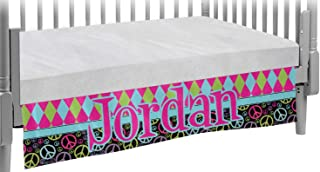 Harlequin & Peace Signs Crib Skirt (Personalized)
