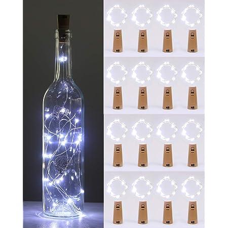 Bouteille vin Lumières Avec Liège makion 16 Pack 2 M 20LED Fil de Cuivre Batterie Fée