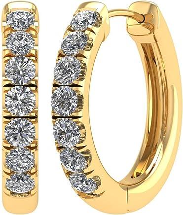 14K Yellow Gold Hoop & Huggies Diamond Earrings (1/3 Carat) - IGI Certified