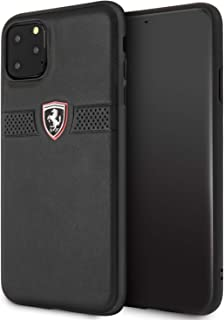 CG Mobile Ferrari Genuine Leather Hard Case for iPhone 11 Pro Max Cell Phone Cover Perforated Horizontal Stripe Design Dro...