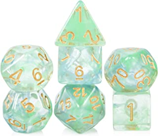Resin DND Game Dice, DNDND Polyhedral Die with Free Pouch for Rolling D&D Dungeons and Dragons RPGs Tabletop Double Colors Translucent Dice