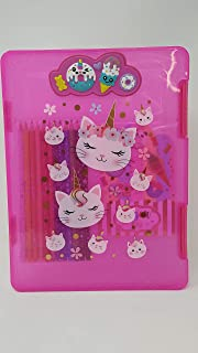 Hot Focus Caticorn/CAT Clipboard Storage Case. A Side Opening Slimcase with 2 Latches. See Through Design with A 3D Clip. Best for School Day, School Trip and Site Visiting for Kids/Girls/Teen.