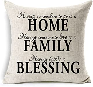 Kithomer Throw Pillow Covers Sweet Quotes Black Home Family Blessing Cotton Linen Home Decor Pillow Case Cushion Cover for Sofa Couch 18