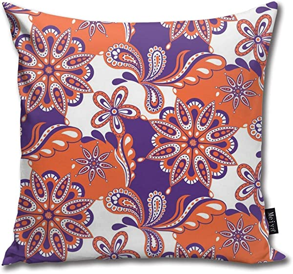 Dadi Design Throw Pillow Cushion Cover Clemson Paisley Mandala Square Accent Pillow Case 18 X 18 Inches