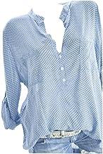 Chrikathy nouveaux Mode Femme col en V point de vague Impression Poche pour homme décontracté manches longues Taille plus ...