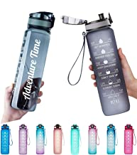 Adventure Time Water Bottle 1L/Large with Time Marker,Motivational Text- BPA Free & Leakproof Frosted Tritan Portable Reus...