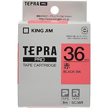 KING JIM PROテ-プカ-トリッジ カラ-ラベル 赤/黒文字 36mm SC36R