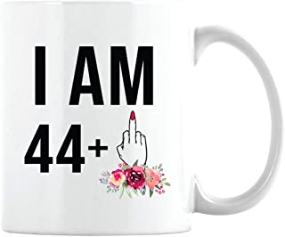 45th Birthday Gift for Women, 44 + One Middle Finger, Cute Funny Sassy Gift Idea for Her, Unique Bday Cup for Best Friend Turning 45 (White Coffee Mug, 11oz)