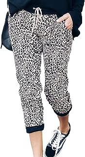 Womens Harem Pants Casual Leopard Print Drawstring Joggers Loose