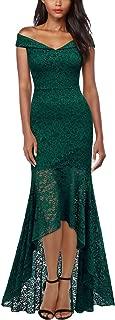 Women's Vintage Off Shoulder Floral Lace Evening Cocktail Maxi Dress