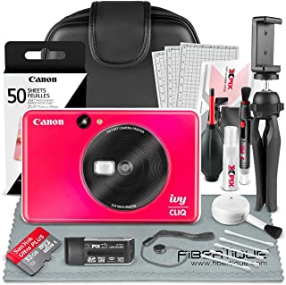 Canon Ivy CLIQ Instant Camera Printer (Lady Bug Red) + 60 Sheets Photo Paper + 32GB SD Card + Case + Deluxe Accessories Bundle (USA Warranty)
