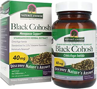 Nature's Answer Black Cohosh Root Vegetarian Capsules, 60-Count | Menopause Support | Menstrual Support