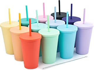 Tumblers with Lids (12 pack) 16oz Pastel Colored Acrylic Cups with Lids and Straws | Double Wall Matte Plastic Bulk Tumble...