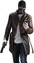 Xfang Men's Aiden Pearce Leather Trench Coat - Mens Brown Distressed Jacket