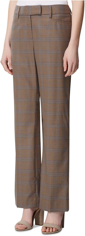 TAHARI Womens Brown Pocketed Tartan Plaid Straight Leg Wear to Work Pants Size 0P