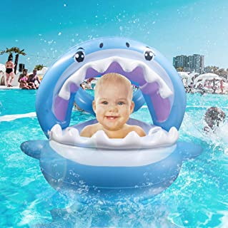 TRSCIND Baby Pool Float Swimming Floats Inflatable Shark Baby Floatie with Canopy for Infant Toddler Kid (6-36 Months)