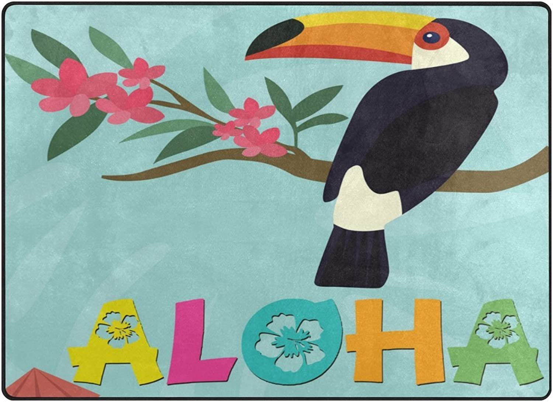 SUABO 80 x 58 inches Area Rug Non-Slip Floor Mat Aloha Bird Printed Doormats for Living Room Bedroom