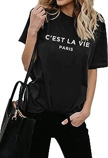 Women C'est LA Vie Paris Letter Print Tops Loose Fit Short Sleeve T-Shirt Blouse