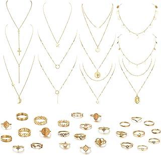 Udalyn Juego de 39 collares y anillos de múltiples capas para mujer, con monedas sexys y luna, estrella, múltiples capas, ...