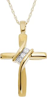10K Yellow Gold Natural Round-Cut Diamond Accent (I-J Color, I2-I3 Clarity) 3 Stone Cross Pendant 18