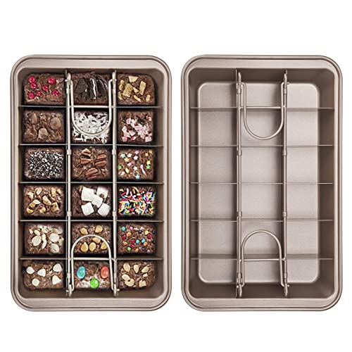 Tobepico Non Stick Brownie Pan with Built-In Slice,High Carbon Steel Baking Pan, Durble and Long-Lasting 18 Pre-slice Brownie Baking Tray,Lightweight,flexible and Dishwasher Safe.