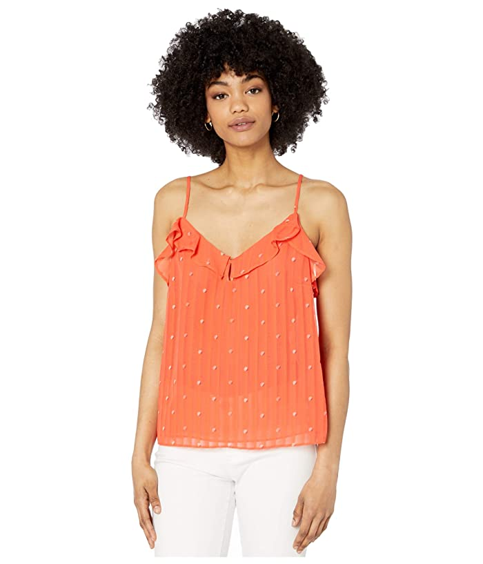 Cupcakes and Cashmere  Emery Dot Ruffle Chiffon Camisole with Keyhole (Hot Coral) Womens Clothing