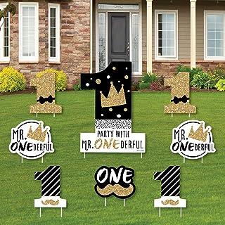 لافتة عيد الميلاد الأول بعبارة Big Dot of Happiness Little Mr. Oneederful - لافتة يارد وديكورات الحديقة الخارجية - علامات ...