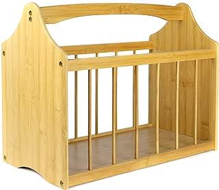 Magazine & Newspaper Rack   Bamboo Wooden Storage Basket with Handle   Brown Living Room Reading Storage Rack   M&W