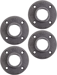 "Pipe Decor 1-1/2"" Malleable Cast Iron Floor Flange 4 Pack, Industrial Steel Grey Fits Standard 1.5 Inch Threaded Black Pipes and Fittings, Vintage DIY Table, Four Real Heavy Duty Plumbing Flanges"