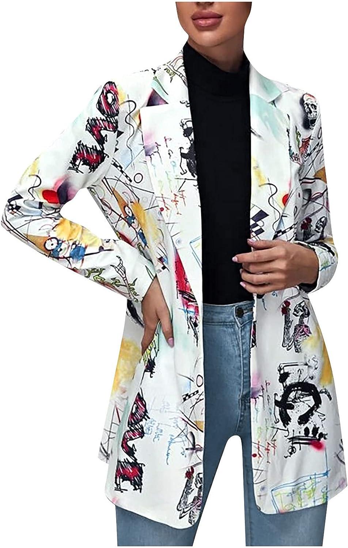 Women Casual Plus Size Blazer Work Jacket Graffiti Print Single Button Loose Cardigan Wthout Pocket Coat