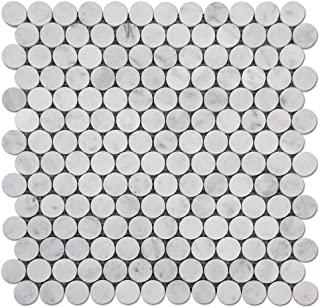 Diflart Carrara White Italian Bianco Carrera 1 inch Marble Penny Round Mosaic Tile Honed 5 Sheets/Box