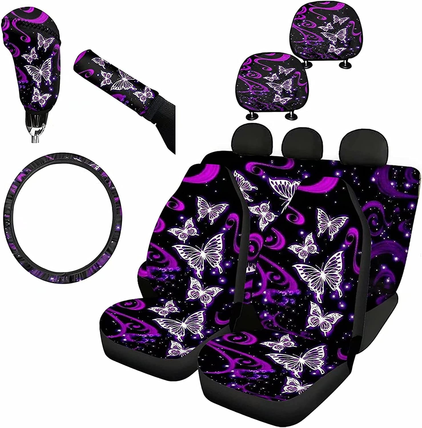 5 popular KUIFORTI Purple Butterfly Printed 9 Pcs Max 60% OFF Set Fron Car Covers Seat