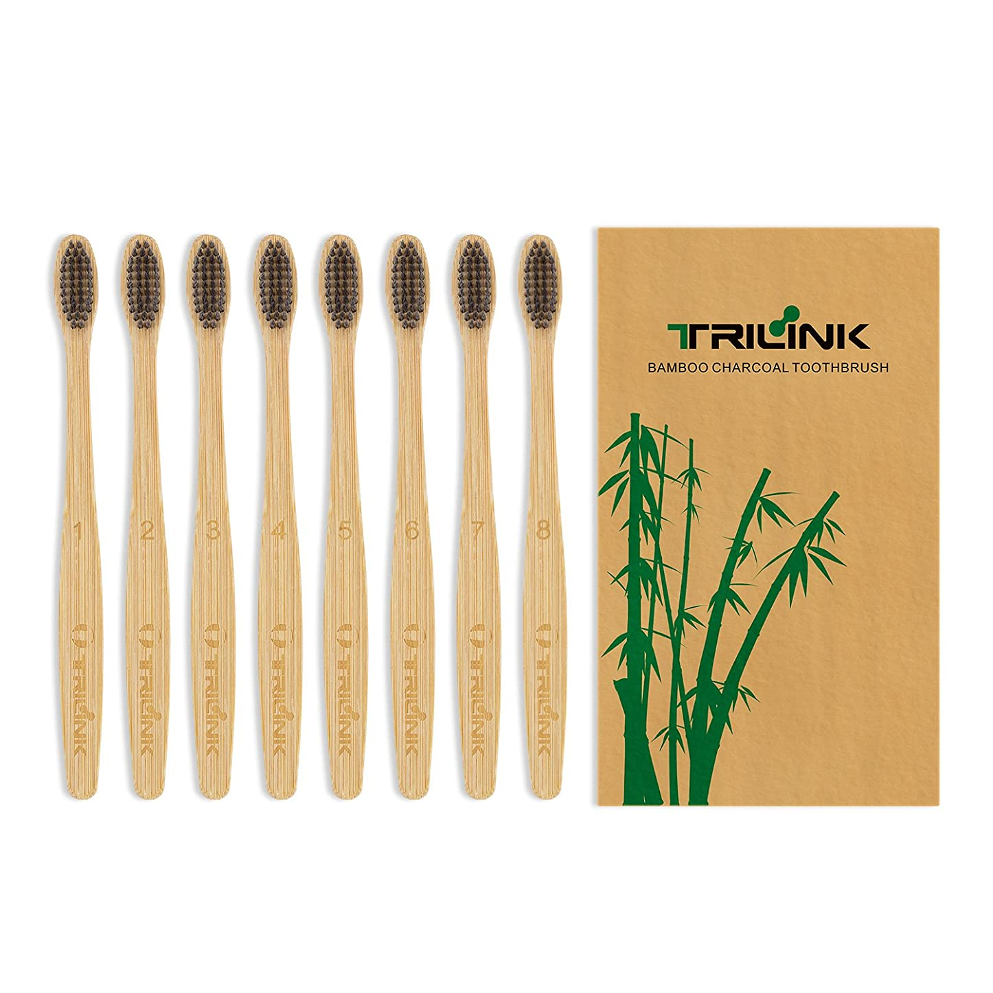 メンダシティ丁寧隔離する大人用竹の歯ブラシ(8本) 環境保護 天然の柔らかい ハブラシ【 活性炭を注入】