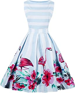 7bec2890719d Women s 50s Vintage Floral Sleeveless Dress Spring Garden Swing Party  Picnic A Line Cocktail Dress