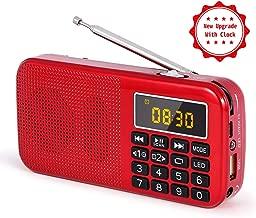 PRUNUS J-725C Reloj Mini Radio Ultra Fina Despertador Portable de FM MP3 con la Linterna de Emergencia, batería Recargable y reemplazable, Antena Larga. Almacena Estaciones automáticamente. (Rojo.)