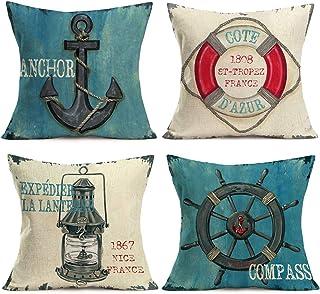 Aremetop Nautical Ocean Decorative Throw Pillow Covers France Ancient Sailing Anchor..