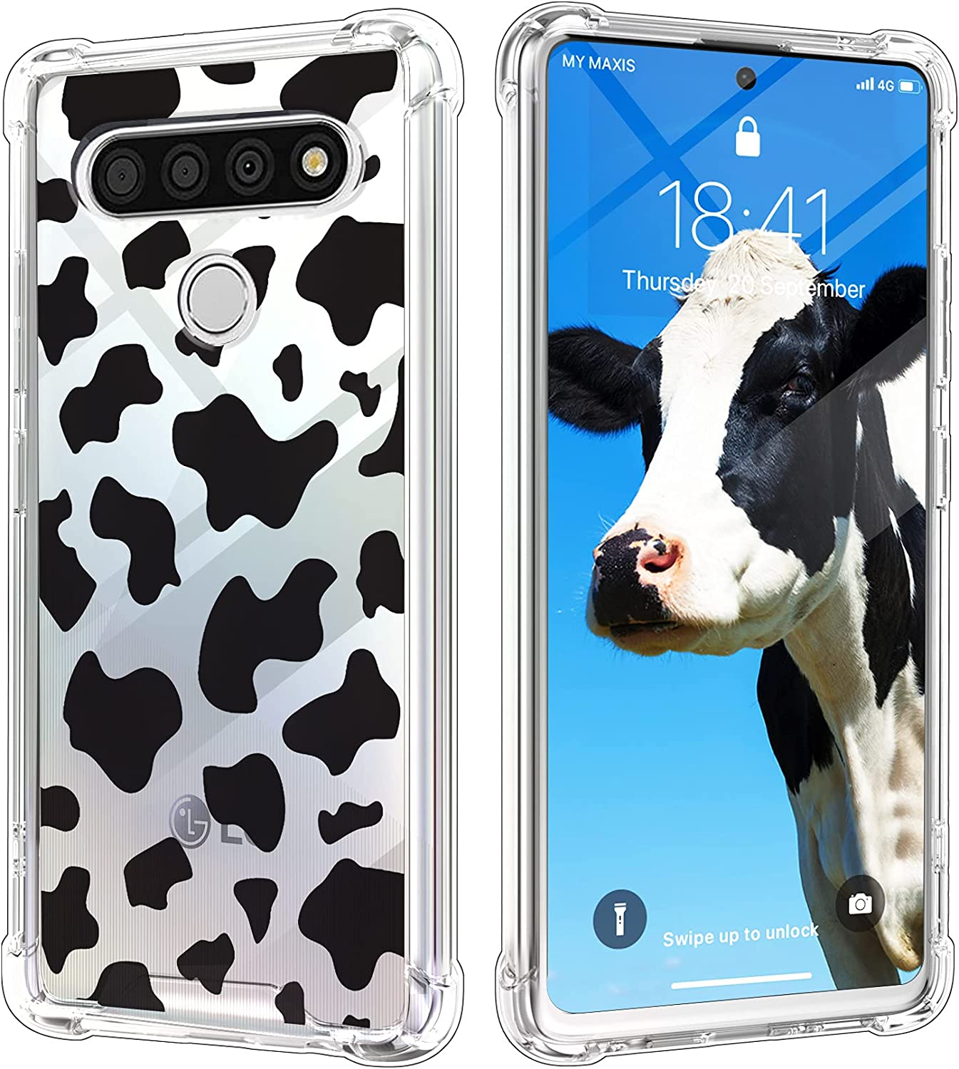 KANGHAR Compatible with LG Stylo 6 Case Cow Print Cute Pattern Shockproof Clear Four Corners Cushion Durable Hard PC + Soft TPU Bumper Anti-Scratch Full Body Protection Crystal Cover-6.8inch
