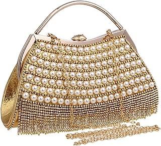 Made Fine Ladies Fashion Banquet Bag Crystal Rhinestone Evening Dress Bag Ladies Pearl Handbag Shoulder Clutch Bag Handbags (Color : Gold)