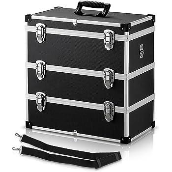 IKAYAA Maletín Universal Caja de Herramienta de 3 Piso Multiuso Negro Material de MDF + ABS + Plástico 44 * 24 * 45,5 cm: Amazon.es: Hogar